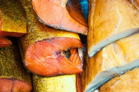 Fish assortment of smoked delicacies Stock Photo