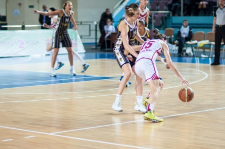 COMPETITION BETWEEN GIRLS BASKETBALL, city of Orenburg, Southern Ural, Russia