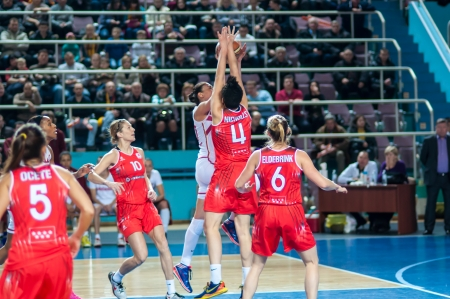 ORENBURG, ORENBURG region, RUSSIA, January 22, 2014 years. Basketball game Russia Spain. The Euroleague group stage Nadezhda Orenburg Russia cruised to a 78-50 win over Rivas Ecopolis Spain