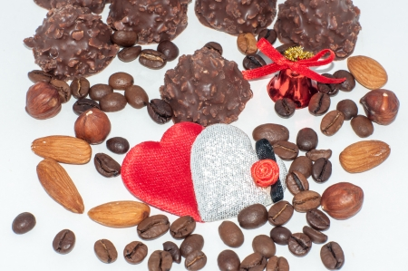 Heart chocolate candy with hazelnuts Valentines day Stock Photo