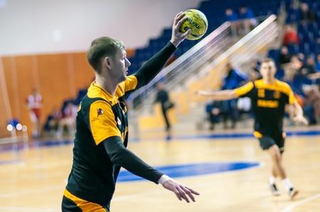 terrain de handball: ORENBURG, la r�gion d'Orenbourg, Russie 29 Janvier 2014 ann�es, tournoi international de handball en m�moire du premier gouverneur de la province d'Orenbourg Neplueva Ii