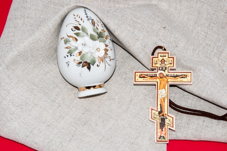 Easter egg and cross for the feast of the radiant resurrection of Christ photo
