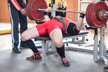 ORENBURG, ORENBURG region, RUSSIA, May 1, 2014 year. Orenburg oblast Championship Powerlifting 報道画像