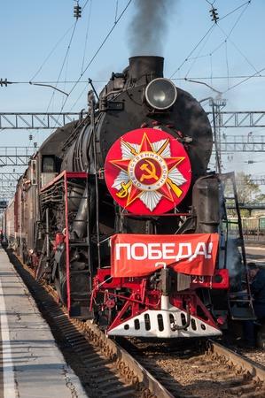 Details of vintage steam locomotive