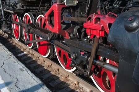 Details of vintage steam locomotive photo
