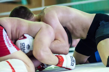 ORENBURG, ORENBURG region, RUSSIA, April 03, 2014 year.  Volga Federal District Championship in mixed martial arts. Guests of the tournament were a famous American boxer Roy Jones Jr., American fighter Jeff Monson and other representatives of the interna