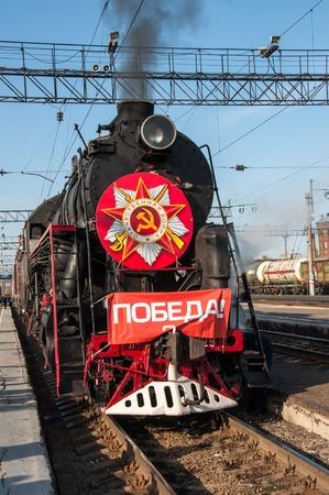 ORENBURG, ORENBURG region, RUSSIA, 6 may, 2014 year. Vintage steam locomotive at the station of Orenburg
