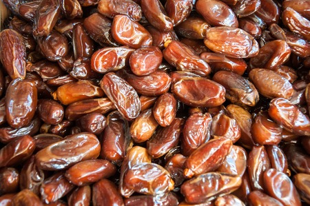 Dates the edible fruit of the date palm, especially species of Phoenix dactylifera Stock Photo