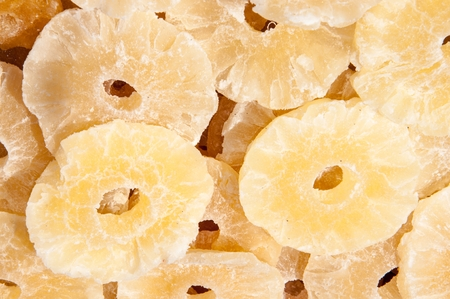 source of iron: Dried pineapples are a source of potassium and magnesium, iron and zinc, as well as B vitamins and fiber, useful for digestion Stock Photo