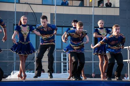slavs: ORENBURG, ORENBURG region, RUSSIA, 25 July, 2014 year. Russian folk dance is performed in the open sky