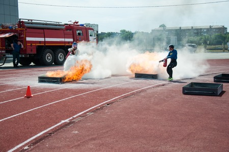 ORENBURG, ORENBURG region, RUSSIA, 7 August, 2014 year. 23 Championship The Ministry of emergency situations of Russia fire-applied sports. Fire relay race
