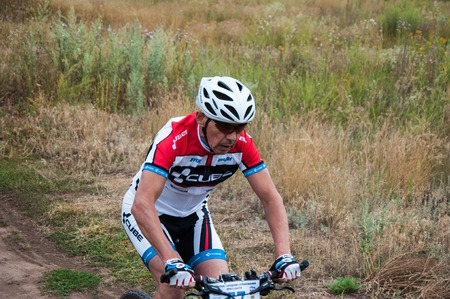 ORENBURG, ORENBURG region, RUSSIA, 10 August, 2014 year. Competitions cyclists in cross-country