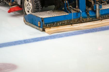 resurfacing: Machine for resurfacing ice on a hockey field Stock Photo