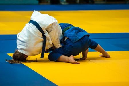 weaker: ORENBURG, ORENBURG region, RUSSIA, 29 October, 2014 year. All-Russian Judo tournament in memory of Viktor Chernomyrdin. Fighter girl in Judo Editorial