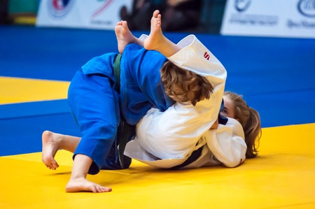 weaker: ORENBURG, ORENBURG region, RUSSIA, 29 October, 2014 year. All-Russian Judo tournament in memory of Viktor Chernomyrdin. Fighter girl in Judo Editorial
