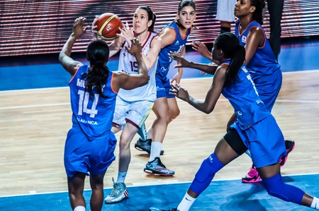 Orenburg, Orenburg region, Russia - 14 January 2015: the womens basketball team Nadezhda (Orenburg) and Spanish team Avenida hold a match Euroleague Basketball FIBA