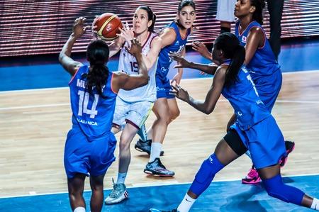 Orenburg, Orenburg region, Russia - 14 January 2015: the womens basketball team Nadezhda (Orenburg) and Spanish team Avenida hold a match Euroleague Basketball FIBA