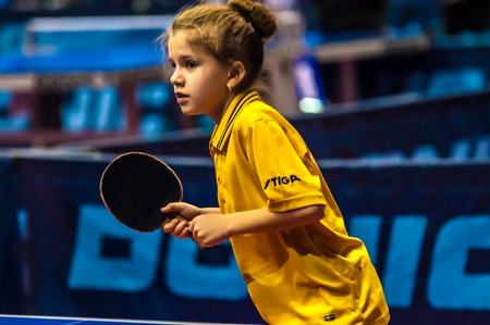 strongest: ORENBURG, ORENBURG region, RUSSIA - 5 February 2015: Girl playing table tennis at the tournament strongest sportsmen of Russia TOP – 12 in table tennis Editorial