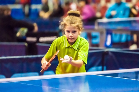 ORENBURG, ORENBURG region, RUSSIA - 5 February 2015: Girl playing table tennis at the tournament strongest sportsmen of Russia TOP – 12 in table tennis.