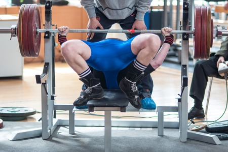 powerlifting: Orenburg, Orenburg region, Russia – 01.05.2014: Competition men Powerlifting