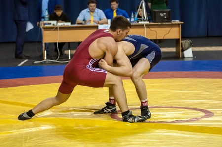 Orenburg, Russia - 07.04.2015: Competitions Orenburg oblast in Greco-Roman wrestling, dedicated to the memory of Russian school teacher, Honoured master of sports of the E.N. Franceva