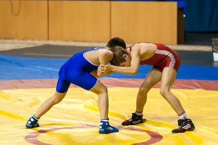 Orenburg, Russia - 07.04.2015: Youth tournament Orenburg oblast in Greco-Roman wrestling, dedicated to the memory of Russian school teacher, Honoured master of sports of the E.N. Franceva Редакционное
