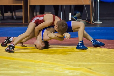 greco roman: Orenburg, Russia - 07.04.2015: Youth tournament Orenburg oblast in Greco-Roman wrestling, dedicated to the memory of Russian school teacher, Honoured master of sports of the E.N. Franceva Editorial