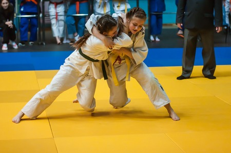 Orenburg, Southern Ural, Russia - 11.04.2015: Judo competitions among girls 1999-2000 years of birth