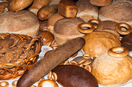 bakery products: Freshly baked bakery products of durum wheat Stock Photo