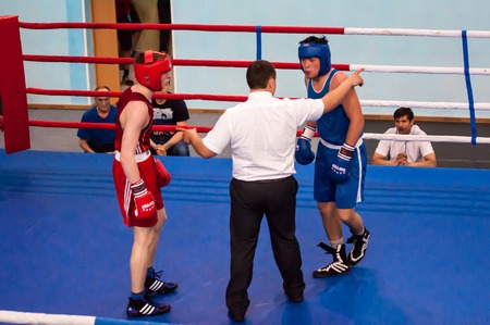 colonel: Orenburg, Russia - 1 may 2015: Fight boxers on All-Russian tournament in boxing among Juniors 1997-98 born in memory of Lieutenant Colonel of militia who died tragically A.T. Kayumova Editorial
