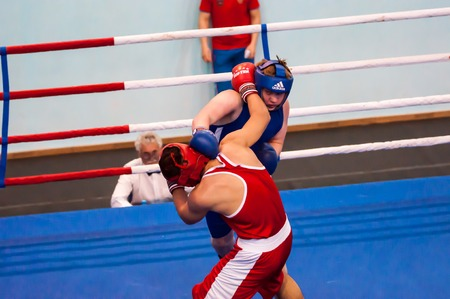 lieutenant: Orenburg, Russia - 1 may 2015: Fight boxers on All-Russian tournament in boxing among Juniors 1997-98 born in memory of Lieutenant Colonel of militia who died tragically A.T. Kayumova Editorial