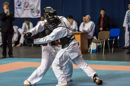 superiority: Orenburg, Russia - 2 May 2015: The boys compete in the Kobudo on superiority of the Orenburg region on East combat martial art Editorial