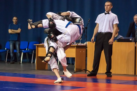 the superiority: Orenburg, Russia - 2 May 2015: The boys compete in the Kobudo on superiority of the Orenburg region on East combat martial art Editorial