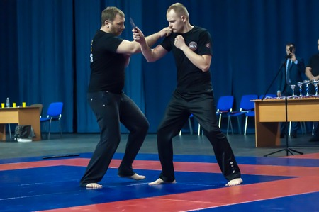 the superiority: Orenburg, Russia - 2 May 2015: Knife fight on superiority of the Orenburg region on oriental combat martial art