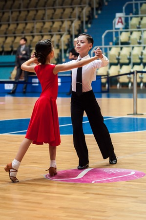 Orenburg, Russia - 24 May 2015: Dancing girl and boy on City Championship of dancesport