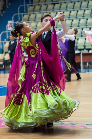 Orenburg, Russia - 24 May 2015: Dancing couple on City Championship of dancesport Editorial