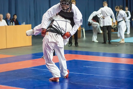 sensei: Orenburg, Russia - 2 May 2015: The boys compete in the Kobudo on superiority of the Orenburg region on East combat martial art Editorial