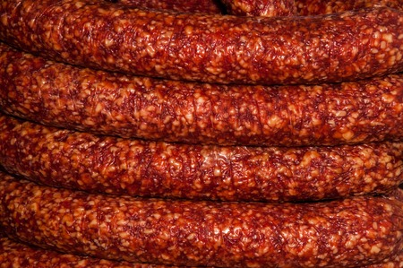 smoked sausage: Smoked sausage is sold at the Bazaar