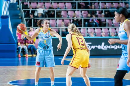 praha: Orenburg, Russia - 28 October 2015: Womens Euroleague Basketball match   Nadezhda (Orenburg) and USK Praha (Czech Republic). The match ended with a score of 58 - 54