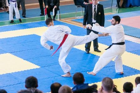 karateka: Orenburg, Russia - 28 November 2015: Boys compete in karate