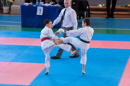compete: Orenburg, Russia - 28 November 2015: Children compete in karate
