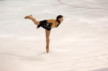 figure skater: Orenburg, Russia - 26.03.2016: Competitions girls figure skater Orenburg expanses