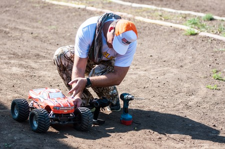 dirt road recreation: Orenburg, Russia - 20 August 2016: Amateurs car model sports compete on the off-road track in open competitions the city of Orenburg