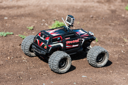 Orenburg, Russia - 20 August 2016: Amateurs car model sports compete on the off-road track in open competitions the city of Orenburg