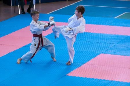 Orenburg, Russia - 28 November 2015: Boys compete in karate at the Open Championship Orenburg