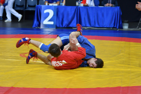 sambo: Orenburg, Russia - 29 October 2016: Boys competitions Sambo in the Championship of Russia in Sambo among boys and girls born 2000-2001 biennium of birth
