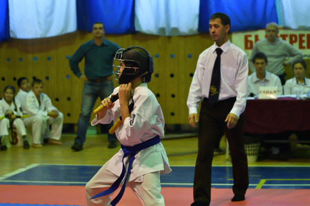 Orenburg, Russia - 30 October 2016: Boys compete on nunchaku in the Championship and city Championship on Kobudo Editorial