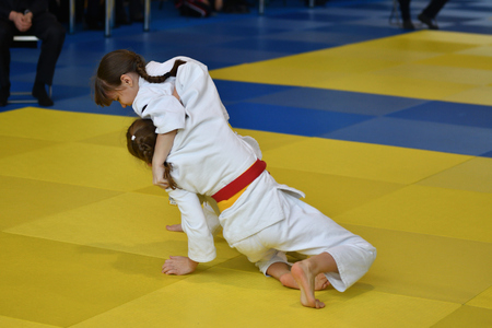 Orenburg, Russia - 05 November 2016: Girls compete in Judo on VI city Judo tournament on prizes the head of the city of Orenburg Editorial