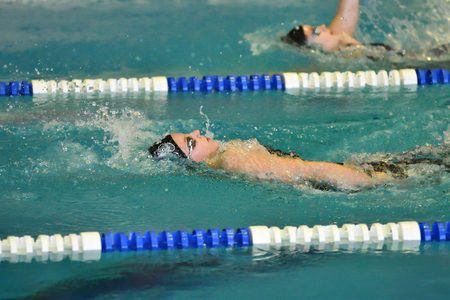 backstroke: Orenburg, Russia - 13 November 2016: Girls compete in swimming on the back on prizes the head of the city of Orenburg Editorial