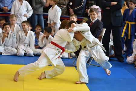 Orenburg, Russia - 05 November 2016: Boys compete in Judo on VI city Judo tournament on prizes the head of the city of Orenburg Editorial